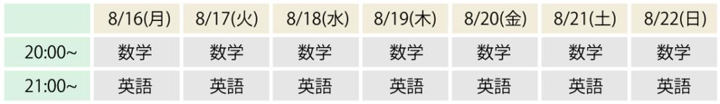 夏期講習スケジュール前期_中2